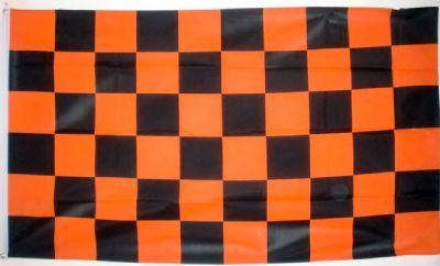 CHECKERED BLACK & TANGERINE - 5 X 3 FLAG